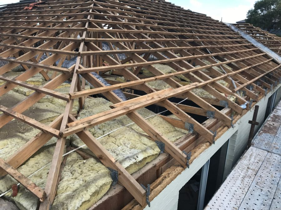 Roof after clean asbestos removal and disposal, ready for reroofing